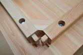 天板側の接続部分 檜のテーブル