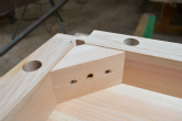 接続部分の構造 檜のテーブル