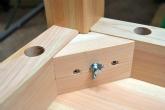 接着剤を使用せず分解しての収納が可能 檜のテーブル
